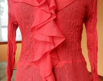 Kaelyn Max Sheer Red Blouse