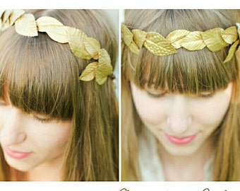 Gold Leaf Crown, Gold Leaf Garland, Gold Leaf Headband, Photo Prop, Greek Goddess, Toga Costume, Bridal Hair Accessories
