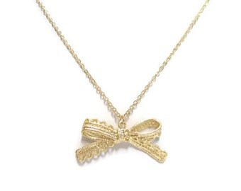 Gold Lace Bow Necklace, Long Necklace