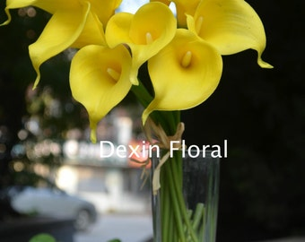 9 stems Yellow Calla Lily Real Touch Flowers for Wedding Bridal Bouquets, Centerpieces, Decorations
