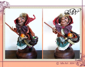 La Befana the Christmas Witch: OOAK Leather Sculpture. ...