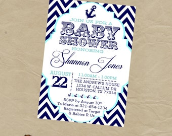 Nautical Sailor Baby Shower  Party Invitation - Navy and Lt Blue Aqua Digital or Printed