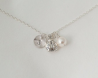 Personalized Initial Silver Ladybug Nnecklace, Swarovski Pearl Necklace