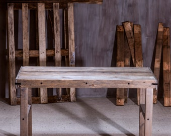 Reclaimed Wood Table or Desk. Hand Made Rustic Design