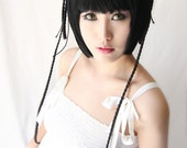 Black Butler / Kuroshitsuji Ranmao Pre Styled jet black cute neat bangs cosplay wig  with 2 buns  / 80cm long braids