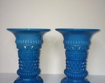 Pair of 19th Century French Blue Opaline Greek Key Vases