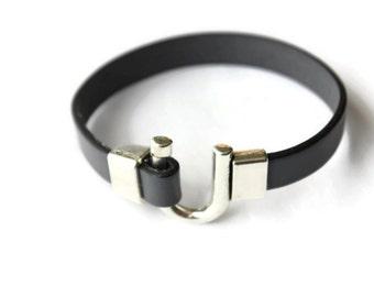 Leather bracelet - grey leather bracelet - grey flat leather - mens bracelet - leather bracelet mens - leather jewelry - U clasp