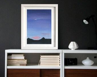 Shooting star Original Watercolor Art Print, Watercolor Landscape,Home Decor Art, Wall Art, Sunset, Watercolor Painting, House Warming Gift