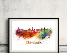 Aberdeen skyline in watercolor over white background with name of city. - SKU 0169
