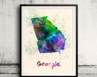 Georgia state map in watercolor on warm background - SKU 0858