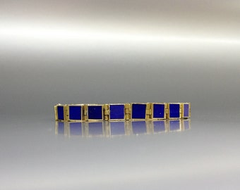 Beautiful timeless Lapis Lazuli with 18K gold bracelet - gift idea - solid gold and AAA Grade stone - perfect inlay work and design - square