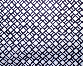 Blue and White cotton kimino/ ukata Fabric with geometric pattern. Sold in 1/2 meter blocks.