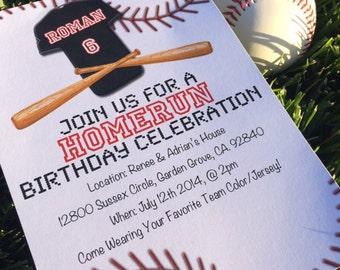 Homerun Birthday Invitation - Baseball Party Invitation
