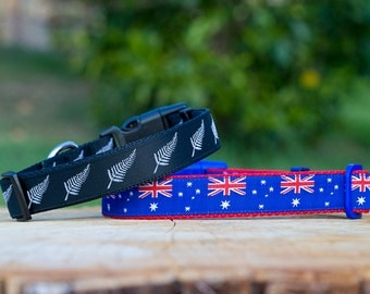 Australian Flag / New Zealand Silver Fern / Australian Made Dog Collar