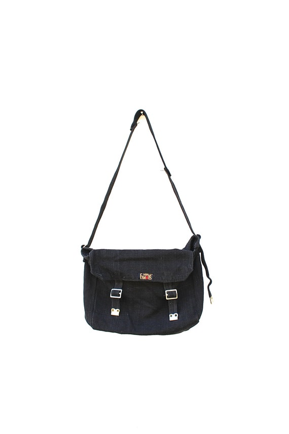 Black Canvas Army Shoulder Bag 90s Grunge Army Surplus World