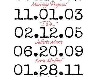 Letterpress Dates/Personalized with your dates, names & events/DIGITAL jpeg file only