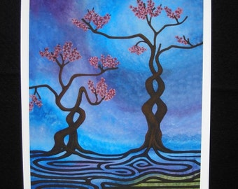 Blossoms of Tranquility - Fine Art Print on Watercolour Paper