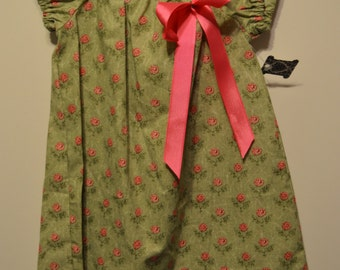 Cotton Green & Pink Floral Peasant Dress Girls Size 4T