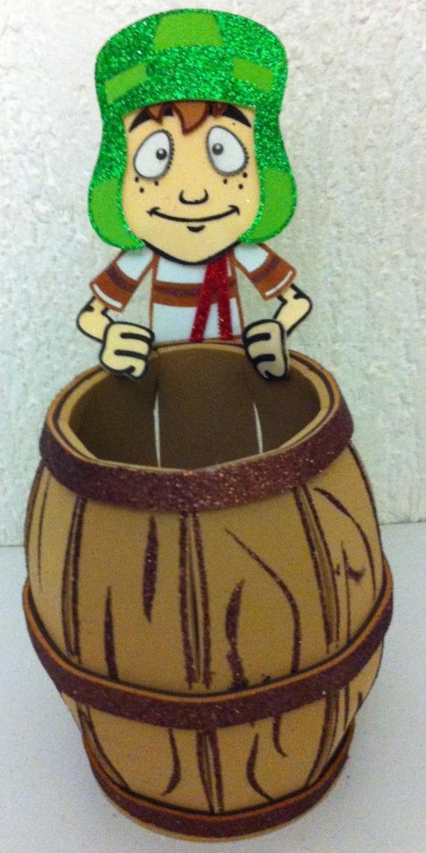 Chavo del 8 pieza central Caketopper - favor espumoso estuche o caja de dulces cumpleaños de la fiesta - Chavo del Ocho con el barril