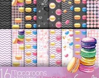 "Macaroons Digital paper (JPG images 12*12"" 300dpi)"
