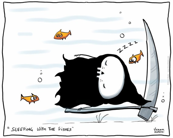 Sleeping with the fishes funny lil 39 grim reaper print for Sleeping with the fishes