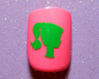 Barbie vinyl nail decals, nail stickers, planner stickers