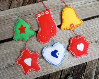 Felt Christmas Ornaments - Toddler Decorations - Tree Stocking Bell Star Heart - Baby First Christmas - Gift Tag - Folk Art Holiday Decor