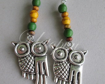 Owls earrings. Dangle earrings with wood beads. Large.