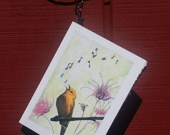 Bird Singing with flowers - 5x7 note card