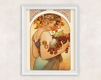 Alphonse Mucha Art Poster - Lady with Fruit Art Print - 8x10 Print - Art Nouveau - Vintage Art - Home Decor - Item #515