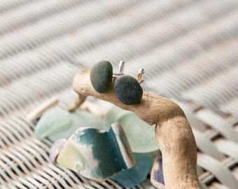 Unique Cufflinks made with Bottle Green Sea Glass - Perfect gift for someone who loves the ocean!