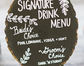 Rustic Chalkboard Sign with Custom Lettering - Signature Drink or Menu Signage