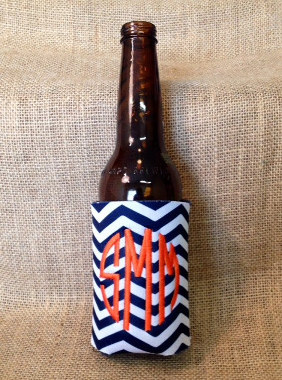 Monogrammed Can Sleeve, Personalized Beer Hugger, Monogrammed Gifts, Beer Gifts, Tailgate Party Favors, Navy Chevron; Navy Blue and Orange