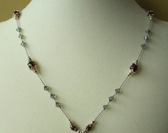 Garnet and Swarovski Heart Necklace