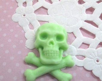 Lime Green Skull and Crossbones Cabochons 25x33x8mm