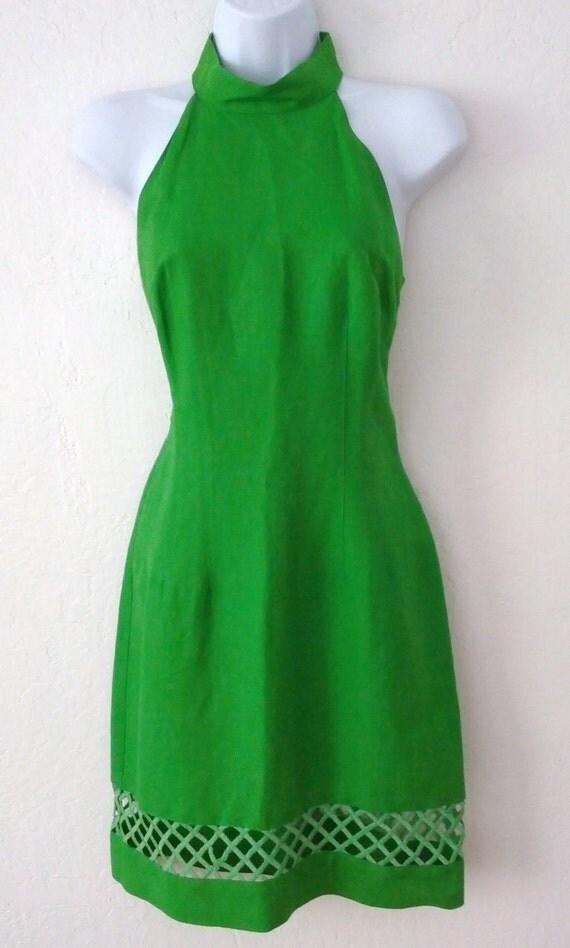 Vintage geary roark apple green cut out linen dress for Apple green dress shirt