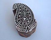 Hand Carved Paisley Wooden Printing Block Craft Stamp