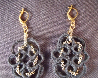 Black Tatted Earrings with Gold Chain