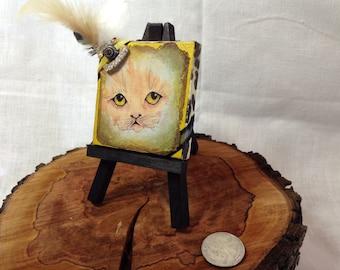 So cute kitty on canvas mini portrait