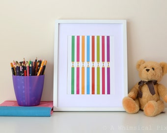 Coloured Pencils Children's Nursery Wall Art Print | 8x10 inches | UNFRAMED Bright Colors