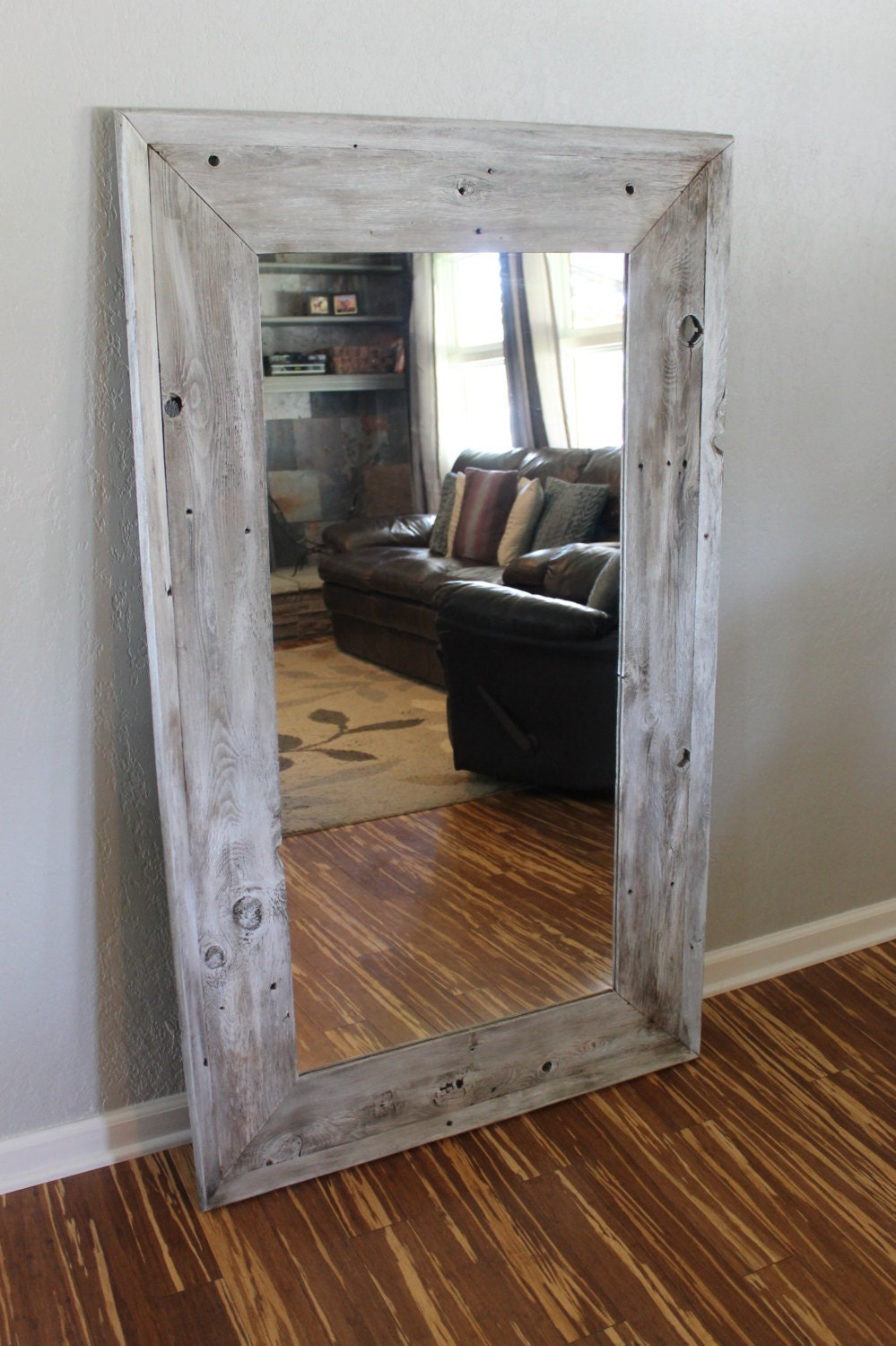 Reclaimed wood full length floor mirror with a by for Floor mirror white frame