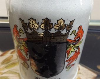 Vintage ceramic beer stein mug vessel Berlin  Man Cave
