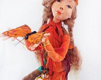 OOAK Collectible Polymer Clay Art Doll Hippie Flower Child Hippie Doll