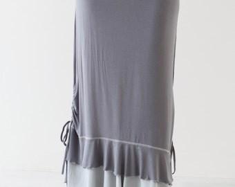 LONG MAXI SKIRT with Drawstring Detail - boho chic long skirt - women's maxi skirts -  long skirt with volant