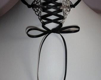 Corset Choker Gothic necklace black ribbon bow collar Victorian vampire