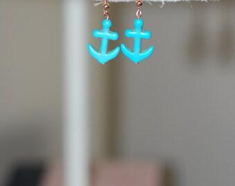Turquoise Anchor earrings Handmade // Nautical Jewelry // Turquoise Dangle Earrings