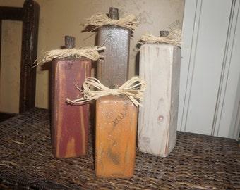 Antiqued Glitter Pumpkins, set of 4