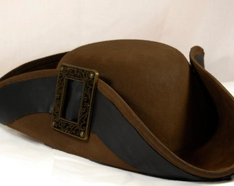 Tricorn Hat, Colonial, Pirate, or Steampunk, with Suede Texture and Buckle