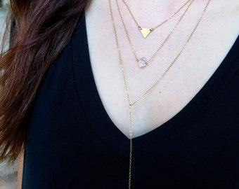 Layering Necklace Set of 3 • Rose Gold • Initial • Vertical Bar Necklace •  Minimalist • Dainty • Delicate • Gold Fill • Herkimer Diamond
