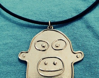 Friendly Monkey Necklace, Brass